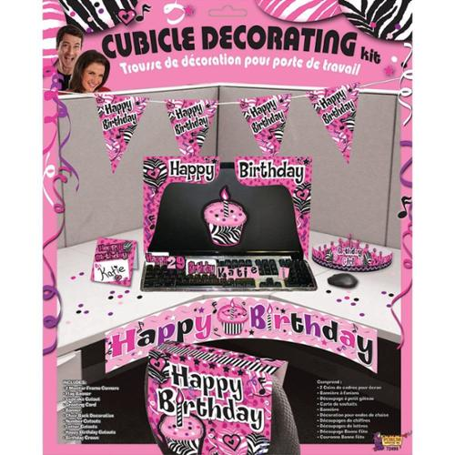 Pink Zebra Birthday Cubicle Decorating Kit (Each) - Party Supplies