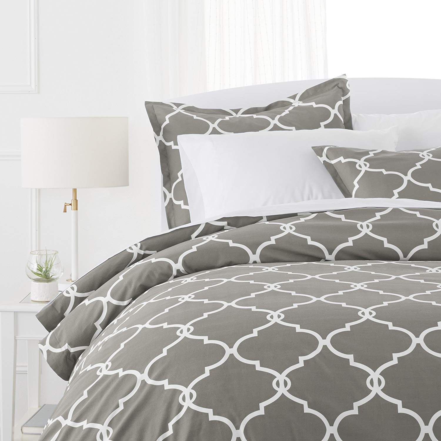 Beauty Threadz 300-Thread-Count 100% Cotton Cool Percale Duvet Cover Set, Twin, Platinum