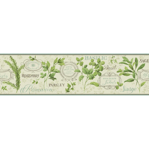 York Wallcoverings Kitchen and Bath Aromatique 15' x 6.75'' Floral and Botanical Smooth Border Wallpaper