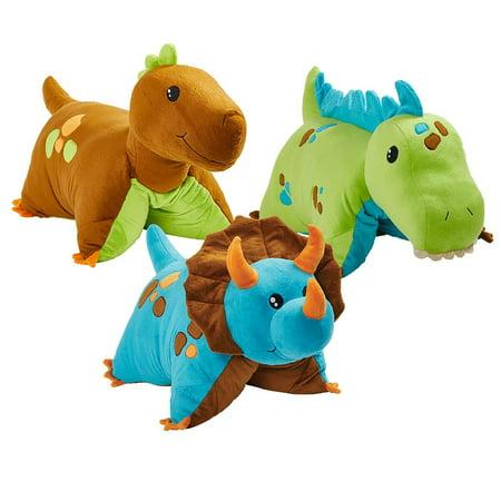 Dinosaur Pillow Pets Combo Pack - Blue, Green and Brown Dinosaurs - Green Dinosaur