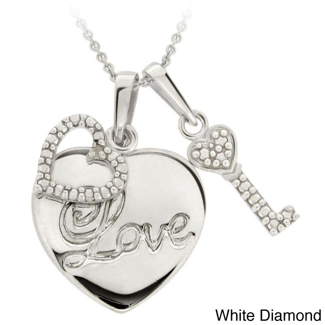 Sterling Silver Diamond Accent Heart and Key Love Charm Necklace