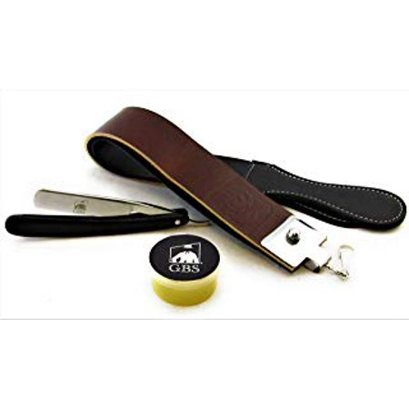GBS Shave Ready Black Wood Finish Scales Straight Razor - Comes with Shaving Strop and Paste - Vintage Straight Razor, Solid Straight Razor Shaver - Best Gift for