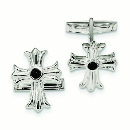 18.3mm Sterling Silver Simulated Onyx Cross Cuff Links