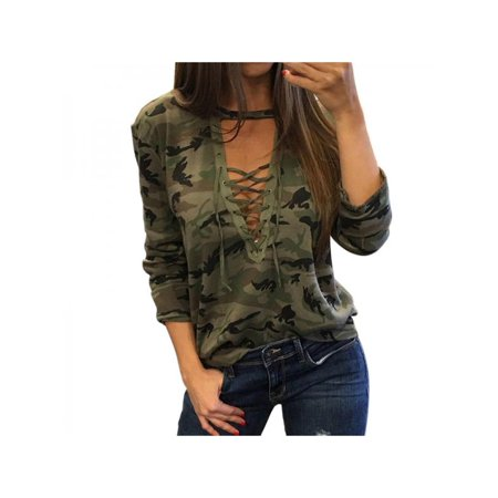 Sweetsmile Spring Summer Women Camouflage Blouse Bandage Plunge V Neck Tops T-shirts Small Size Clearance Hot