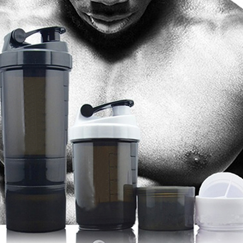 Girl12Queen 3 in 1 Gym Body Building Water Bottle Protein Powder Mixer Shaker with Mesh Grid
