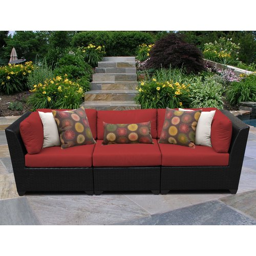 TK Classics Barbados 3 Piece Patio Sofa with Cushions