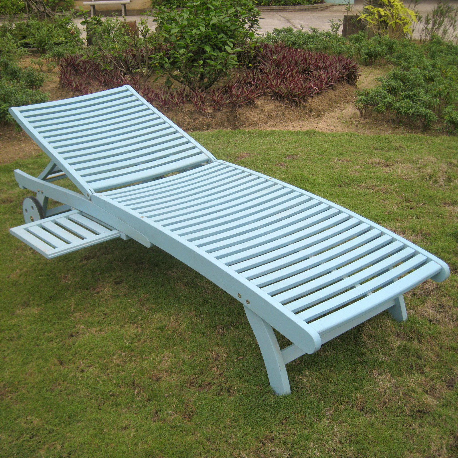 Chelsea Acacia Outdoor Chaise Lounge with Sliding Tray by International Caravan