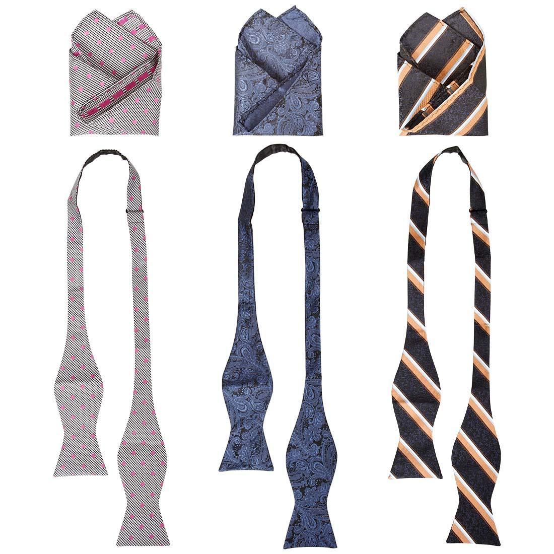 BMC Mens 6 pc Mixed Design Self Tie Bowtie Pocket Square Suit Accessories
