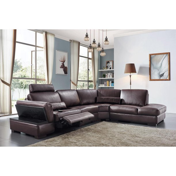 Brown Top Grain Leather Electric, Sectional Sofa Recliner