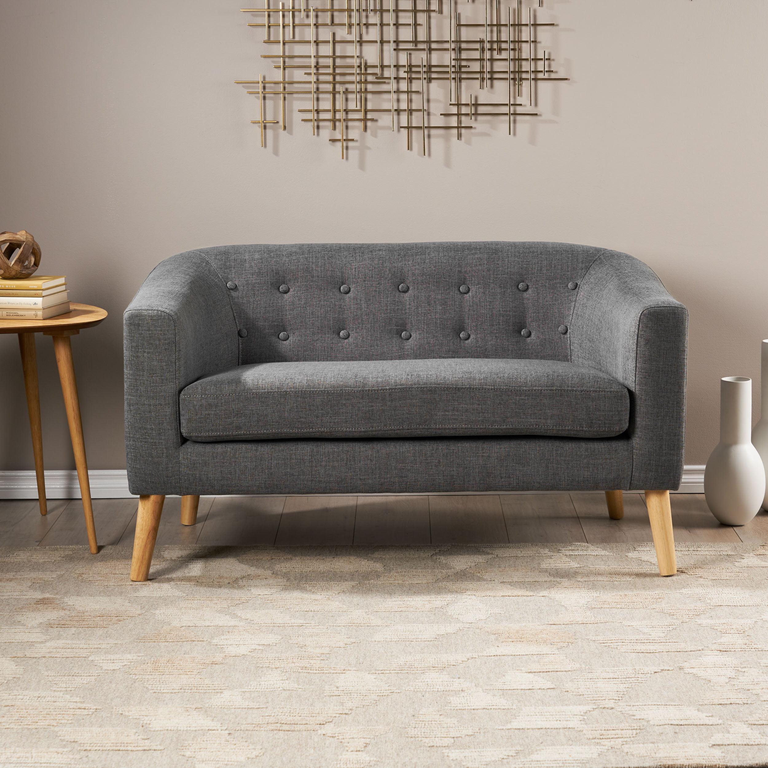 Brony Fabric Mid Century Modern Loveseat Grey Walmart Com Walmart Com