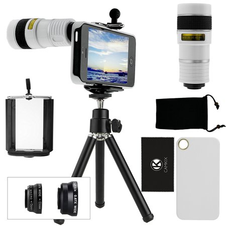 CamKix Camera Lens Kit for iPhone 5 including Telephoto /  Fish Eye  / Macro / Wide Angle / Tripod / White Hard Case / Universal Phone Holder /