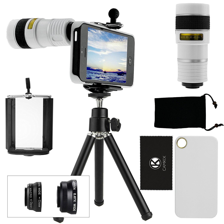CamKix Camera Lens Kit for iPhone 5 including Telephoto /  Fish Eye  / Macro / Wide Angle / Tripod / White Hard Case / Universal Phone Holder / Velvet Phone Bag / Cleaning Cloth