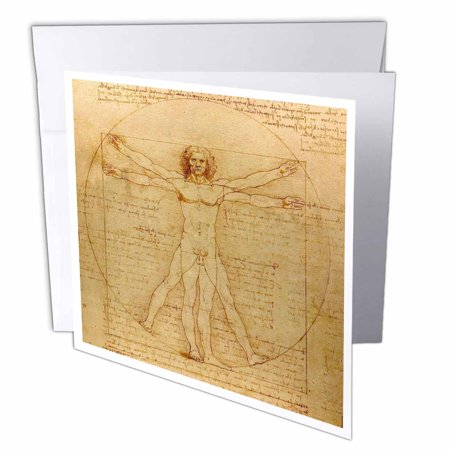 3dRose Vitruvian man by Leonardo da Vinci 1490 - fine anatomical art - human anatomy pen and ink drawing, Greeting Cards, 6 x 6 inches, set of 12