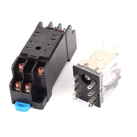 HH52P-L AC 12V Coil 8Screw Terminal 35mm DIN Rail Red Light Power Relay w Socket - image 2 of 3