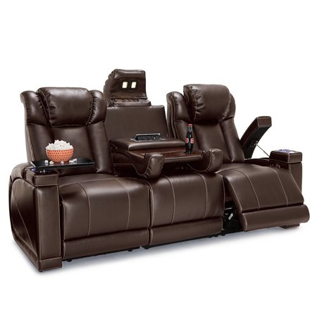 Seatcraft  Sigma Leather Gel Home Theater Seating Power Recline Sofa with Fold-Down Table and Cup Holders, Brown Burgundy Leather Reclining Sofa