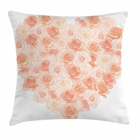 Peach Throw Pillow Cushion Cover, Valentines Day Inspired Heart Shaped Blooming Roses Bouquet with Romantic Design, Decorative Square Accent Pillow Case, 16 X 16 Inches, Salmon Peach, by Ambesonne (Valentines Day Throw Pillows)