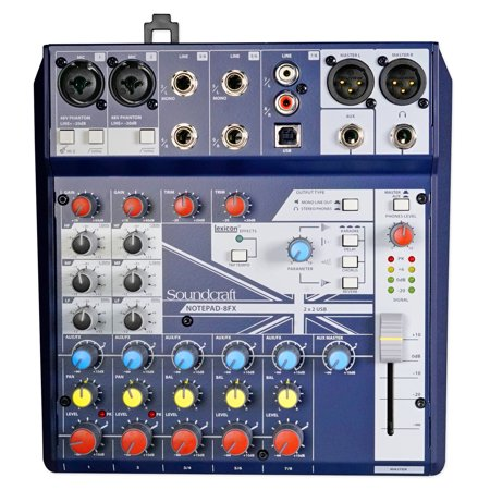 Soundcraft Notepad-8FX 8-Channel Live Sound/Recording Mixer+Effects+USB 4 Mac/PC
