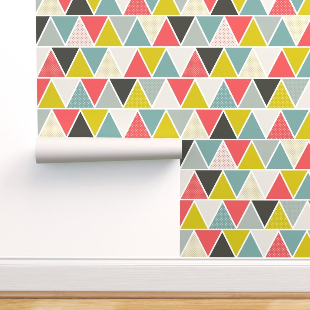Fridge Wrap  Self Adhesive Vinyl Decal  Colourful Triangles Geometric Pattern  Fridge Skin Vinyl Sticker  Peel and Stick Wallpaper