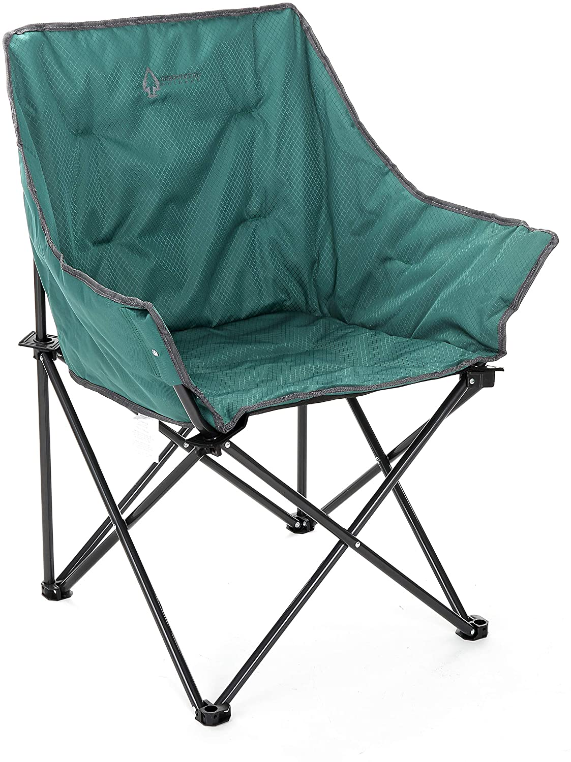 Compact Heavy-Duty Steel Frame Arrowhead Outdoor Portable Folding Camping Quad Bucket Chair Supports up to 250lbs
