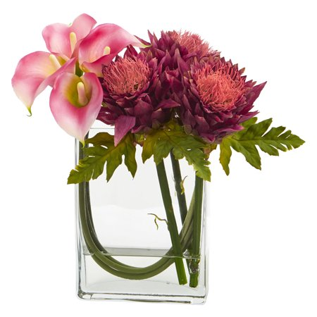 12 Calla Lily And Artichoke In Rectangular Glass Vase Artificial