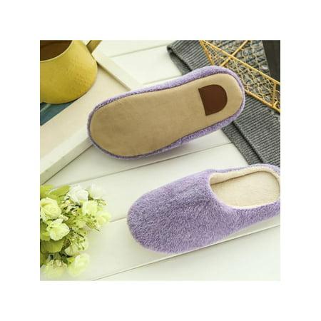 Men's Women's Cozy Fleece House Slippers Slip-on Shoes Winter Warm Flip Flops