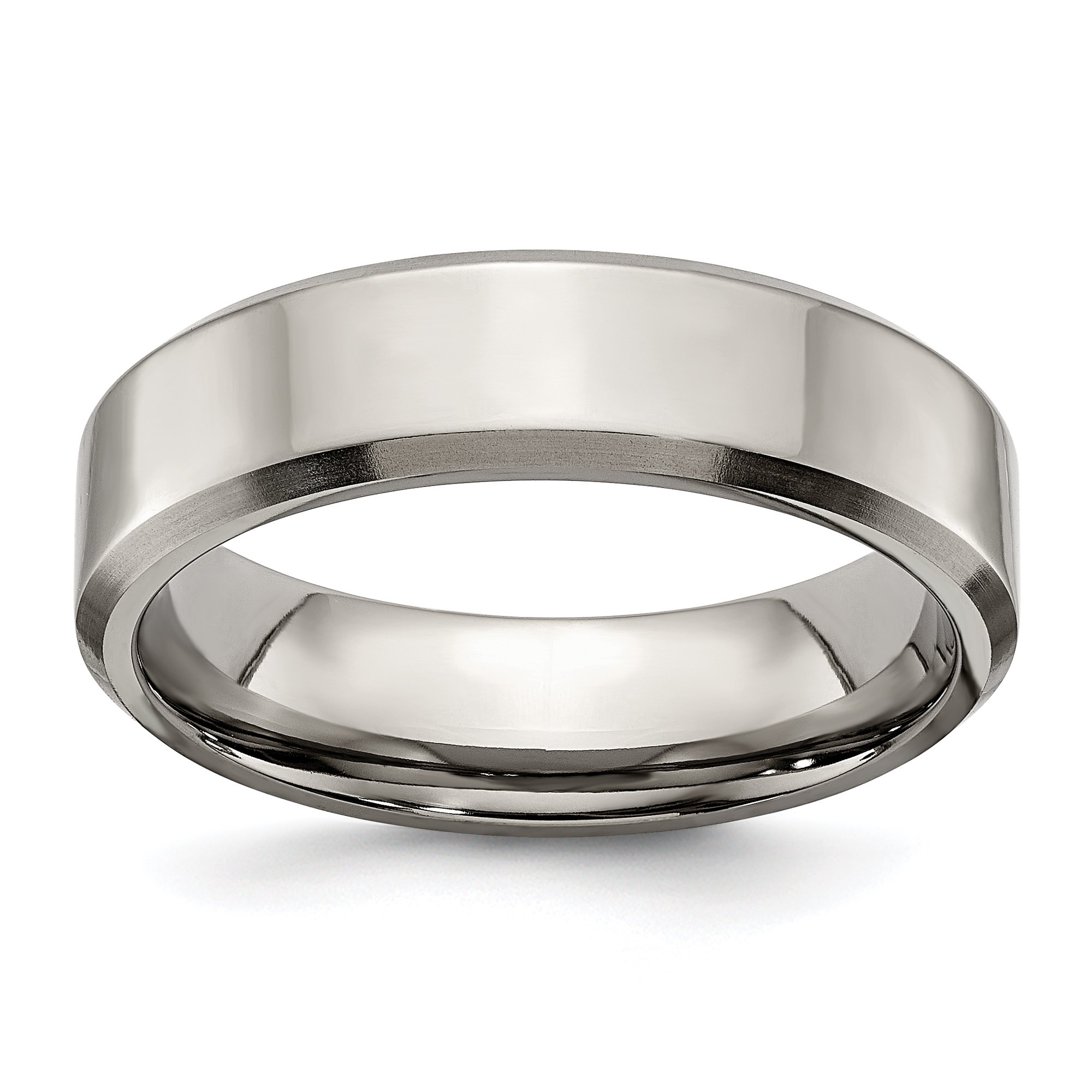 Titanium Beveled Edge 6mm Brushed Wedding Ring Band Size 8 50
