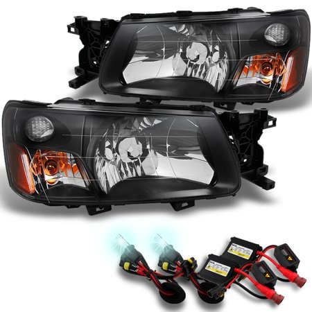 Fit 2003-2004 Subaru Forester SG Black Bezel Headlights +  8000K HID ()