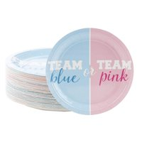 "80-Count Gender Reveal Party Paper Plates 9"", Team Blue Or Team Pink Design Favors Decorations Disposable Lunch Dinner Dessert Plates Paper Party Supplies for Baby Shower"