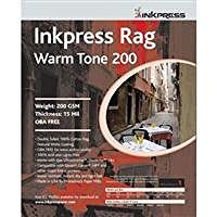 100% Cotton Rag Paper - Inkpress Rag, Warm Tone Double Sided, Cream White Matte Inkjet Paper, 15 mil., 200gsm, 8.5x11