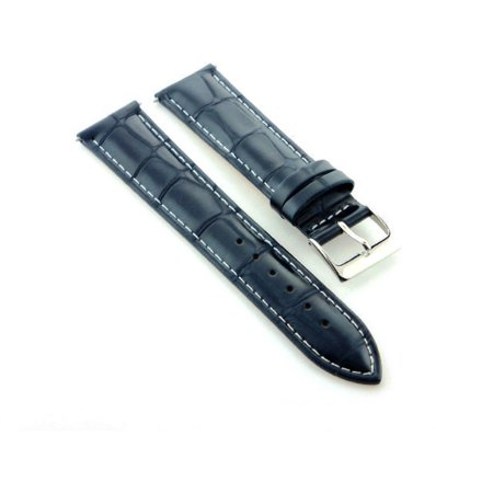 Omega Leather Bands (18MM GATOR LEATHER WATCH STRAP BAND FOR OMEGA DARK BLUE NAVY WHITE STITCHING )