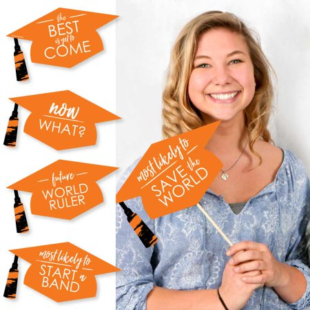Hilarious Orange Grad - Best is Yet to Come - Orange Graduation Party Photo Booth Props Kit - 20 Count (Is Booth Dead)