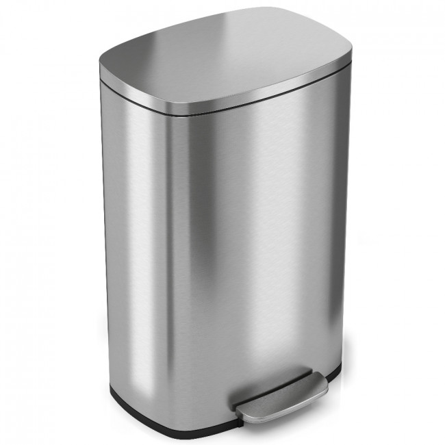 iTouchless SoftStep 13.2 Gallon Stainless Steel Step Trash Can, 50 Liter Pedal Kitchen Trash Can