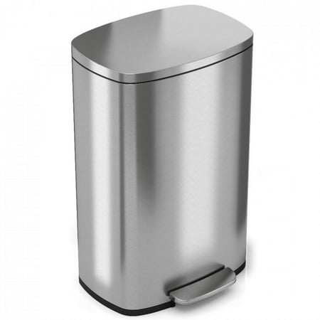 iTouchless SoftStep 13.2 Gallon Stainless Steel Step Trash Can, 50 Liter, Pedal Kitchen Trash Can Gallon Commercial Trash Can