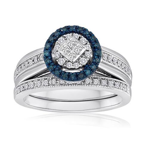 Allure Gems LLC Platinaire 3/8ct TDW Blue and White Diamond Bridal Set (H-I, I2-I3)
