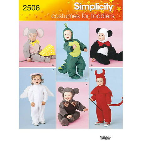 Simplicity Pattern Toddler Mouse/Devil/Dragon/Angel/Bear Costumes, (1/2, 1, 2, 3, 4) (Devil And Angel Couple Costumes)