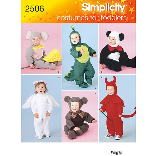Simplicity Pattern Toddler Mouse/Devil/Dragon/Angel/Bear Costumes, (1/2, 1, 2, 3, 4)