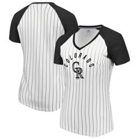Colorado Rockies Majestic Women's Paid our Dues V-Neck T-Shirt - White/Black
