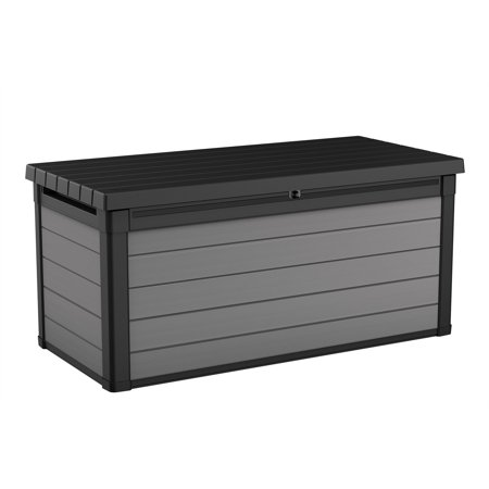 Keter Premier 150 Gallon Deck Box, Resin Outdoor Storage Box, Black and Gray Wood