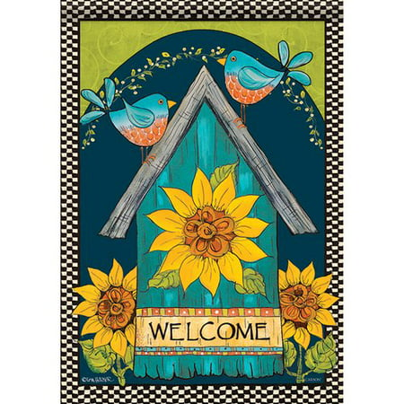 - Carson Home Accents Birds Welcome Birdhouse 2-Sided Polyester Garden Flag