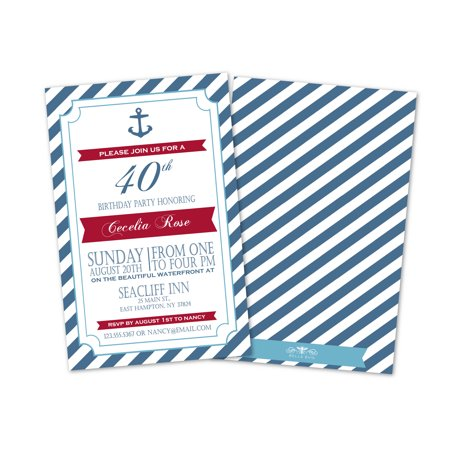 Nautical Birthday Invitations (Personalized Anchor and Stripes Nautical Birthday Party)