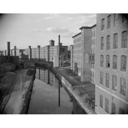 USA New Hampshire Manchester Mills by canal Stretched Canvas -  (18 x (Manchester Malls)