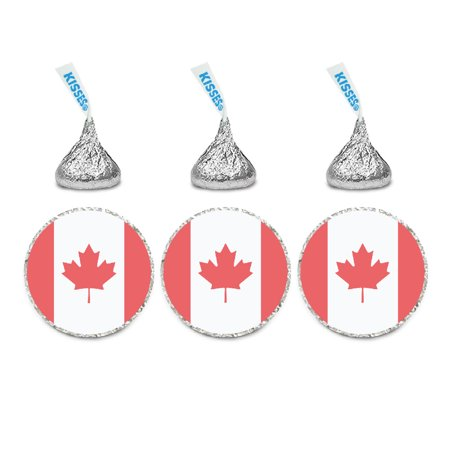 Global World Flag Party Collection, Round Label Stickers, Canada, 40-Pack, World Cup Soccer Futbol - Party Central Canada