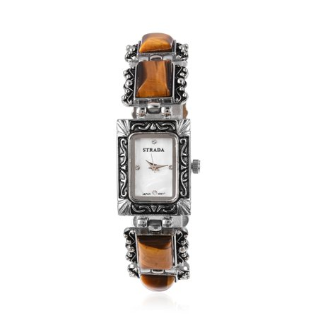 Tigers Eye Crystal Japanese Movement Water Resistant Watch in Black Oxidized Silvertone with Stainless Steel - Detroit Tigers Heart Watch