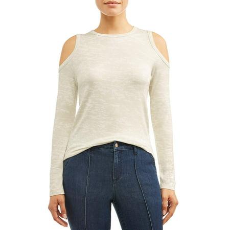 Sofia Jeans Cold Shoulder Soft Terry Burnout Top Women's by Sofia Jeans By Sofia Vergara