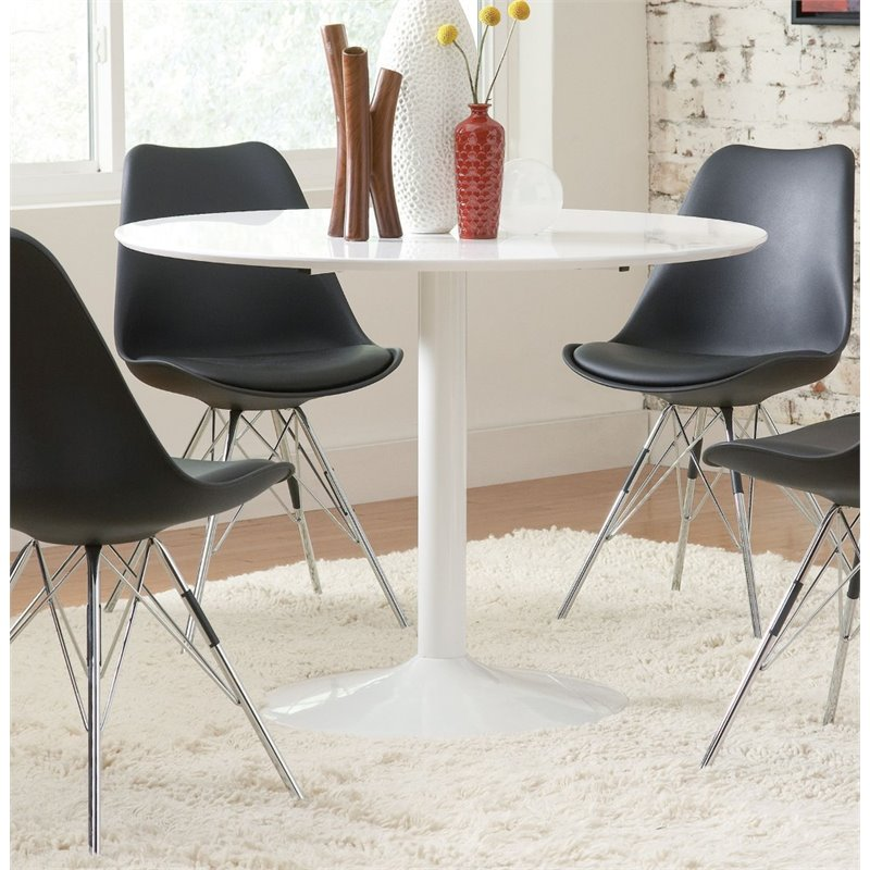 Coaster Round Dining Table in White by Coaster