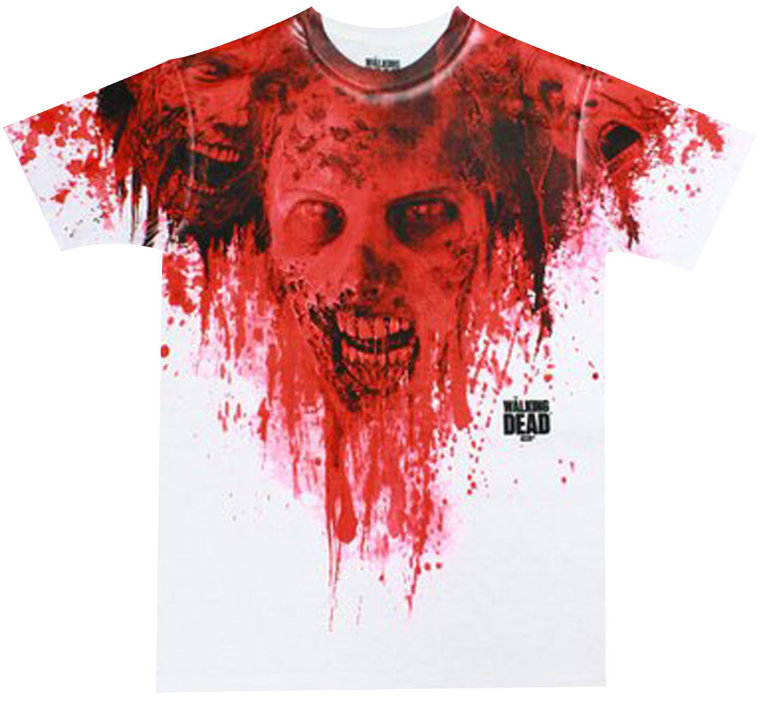 The Walking Dead Walkers in Blood Stain Dye Sublimated Adult T-Shirt