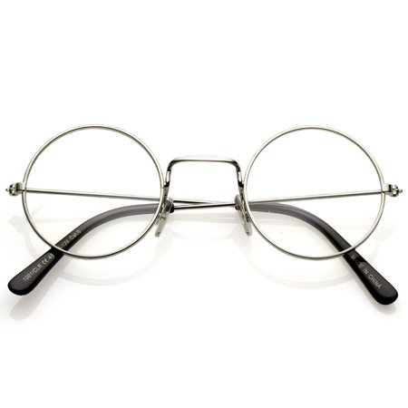 sunglassLA - Classic Small Metal Frame Slim Temples Clear Lens Round ...