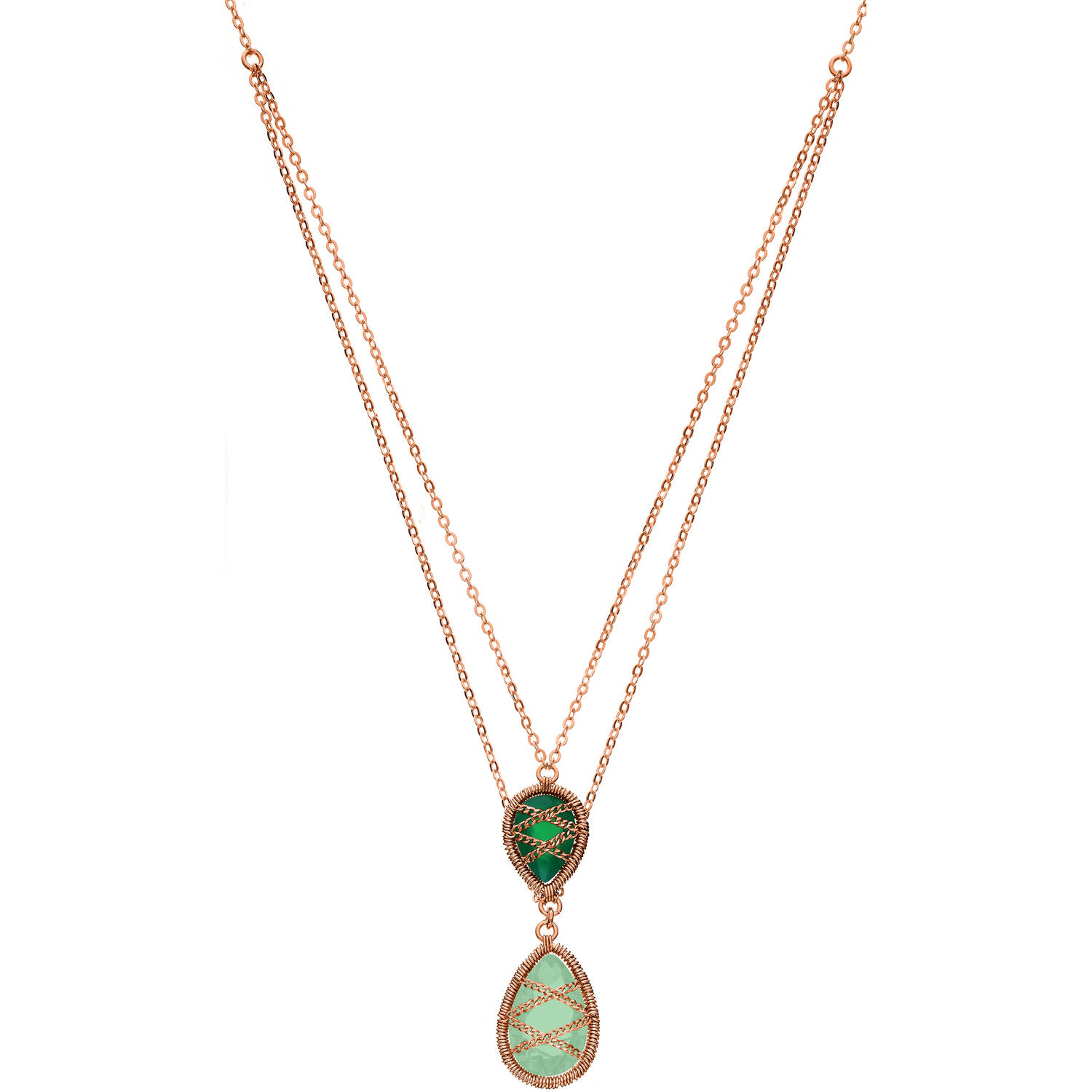 5th & Main Rose Gold over Sterling Silver Hand-Wrapped Double Chain Chalcedony and Peridot Stone Pendant Necklace by Generic