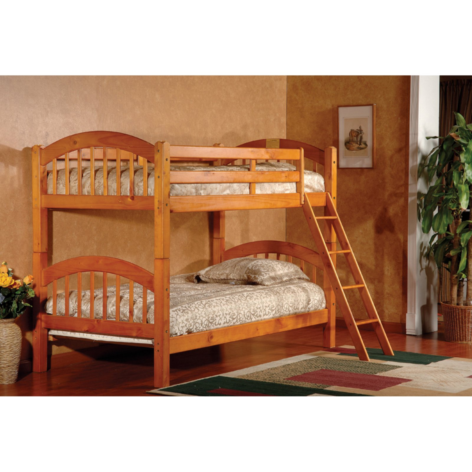 K & B Furniture Arched Twin Over Twin Bunk Bed