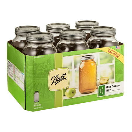 Ball Glass Mason Jar w/Lid & Band, Wide Mouth, 64 Ounces, 6 Count (Mini Glass Jars With Lids)